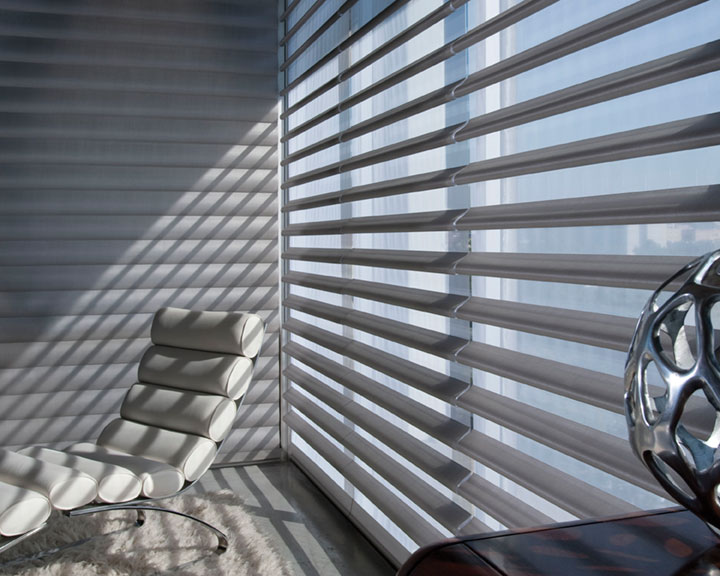 Hunter Douglas Pirouette Window shadings available through Aria On-Site