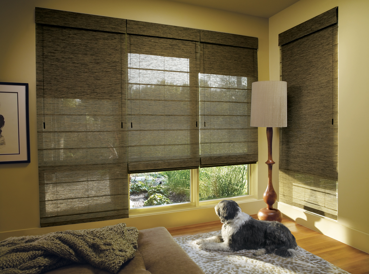 Hunter Douglas Woven Roman Shades available through Aria On-Site